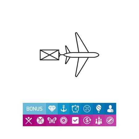 Icoon van vliegende vliegtuigcarring-brief