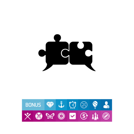 Monochrome vector icon of two connected puzzle elements representing artificial intelligence concept