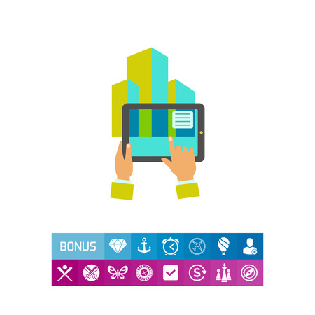 modifying: Multicolored flat icon of human hands holding tablet showing augmented reality Illustration