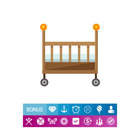 Multicolored vector icon of wooden baby bed Illustration