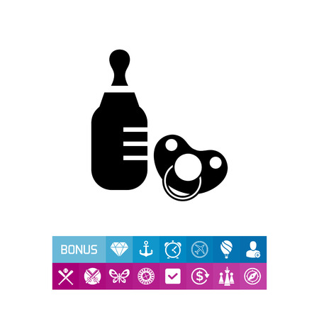 Vector icon of baby bottle and pacifier