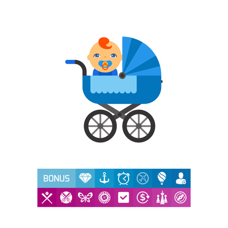 Vector icon of blue, baby carriage with baby with pacifier in mouth