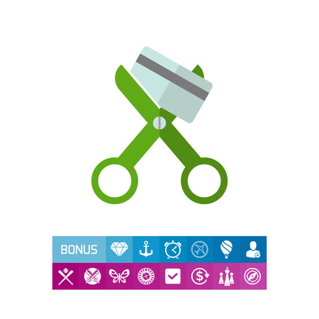 Icon of scissors cutting credit card