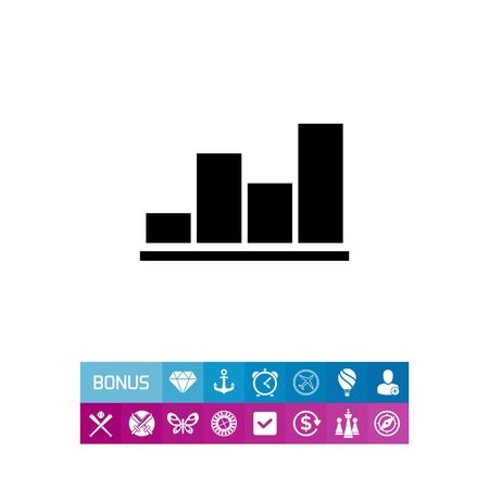 Monochrome vector icon of growing bar chart
