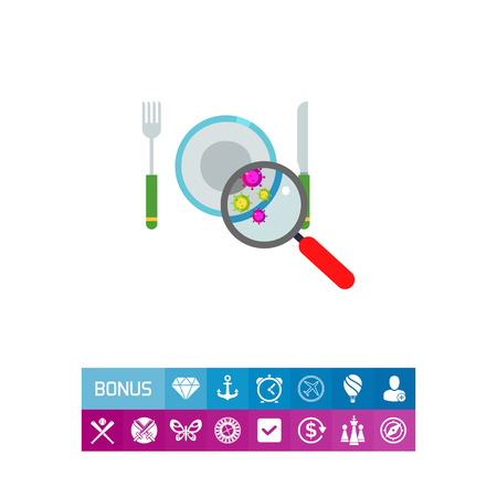 Illustration of magnifier showing bacteria on plate. Dirty plate, knife, fork, hygiene, virus, loupe. Hygiene concept. Can be used for topics like hygiene, dirty dishes, health care Illustration