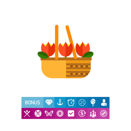 Multicolored vector icon of basket with red tulips
