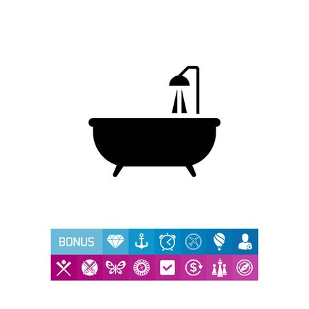 douche: Icon of bathtub with shower