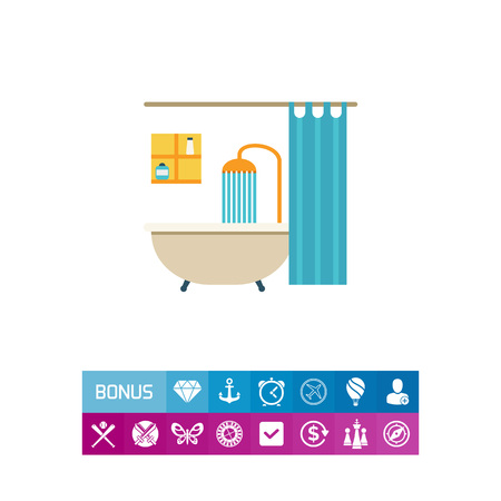 Icon of bathroom interior including bathtub, shower, shower curtain and shelves Illustration