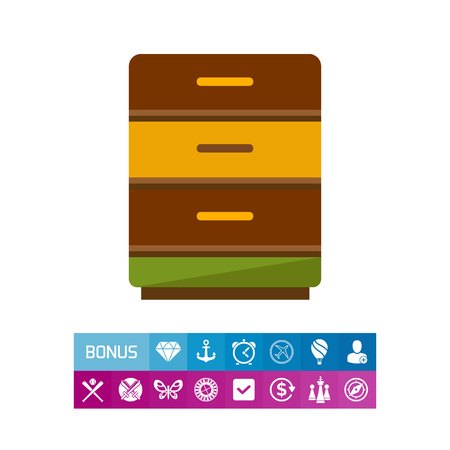 Multicolored vector icon of bedside table with three drawers