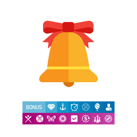 Icon of bell with red bow