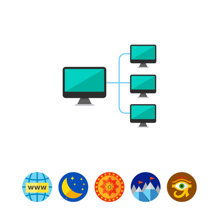 dataset: Computer connected to main server. Local network, computer network, company network. Network concept. Can be used for topics like business, connection, computer