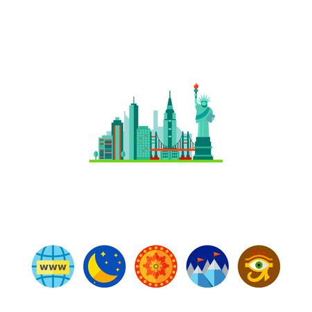 Icon of Concrete Jungle. Skyscraper, traveling, landmark. New York concept. Can be used for topics like tourism, vacation or American city Illustration