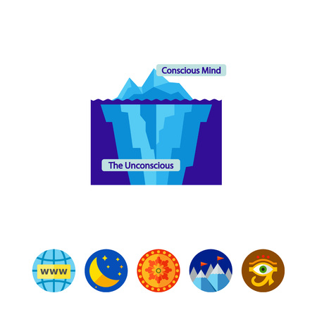 Illustration of iceberg with inscriptions conscious and unconscious mind. Personal psychology, model. Psychoanalysis concept. Can be used for topics like mental health, personality, psychotherapy