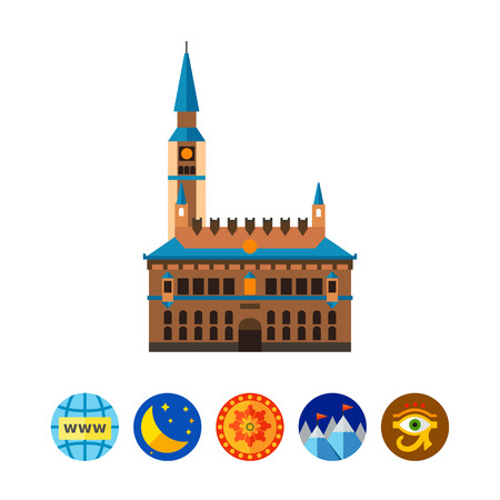 Vector icon of Copenhagen City Hall. Copenhagen, landmark, famous place. Denmark concept. Can be used for topics like travelling, tourism, architecture