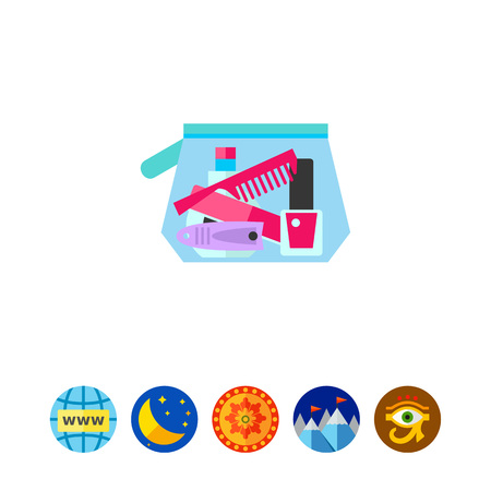 Icon of cosmetic bag. Tool, manicure, hygiene. Travelling essentials concept. Can be used for topics like beauty, nailcare, cosmetics