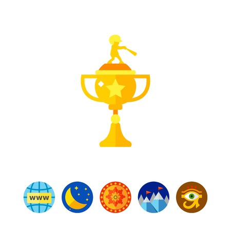 Icon of baseball championship trophy. National league, competition, victory. Contest concept. Can be used for topics like sport, game, cup Illustration