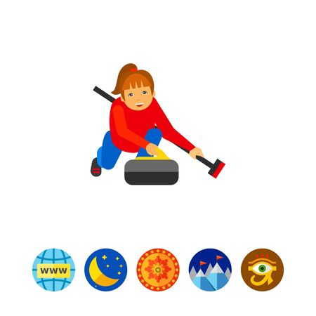 Illustration of female character with curling broom and stone. Curling sport, playing, competition. Curling sport concept. Can be used for topics like curling sport, competition, leisure activity Illustration
