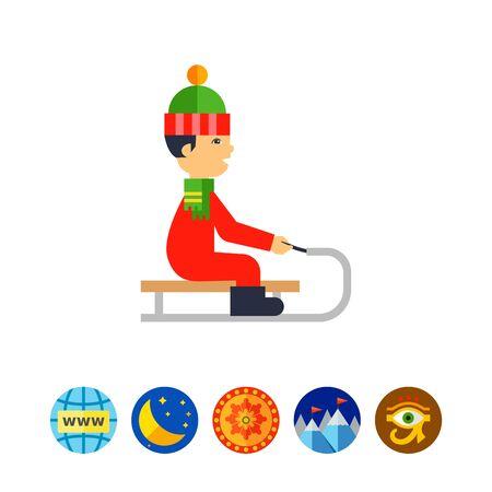 Abbildung des Jungen trägt Hut und Schal Rodeln. Winter, Rodeln, Freizeitbeschäftigung. Schlitteln Konzept. Kann für Themen wie Sport, Kindheit, Freizeit verwendet werden