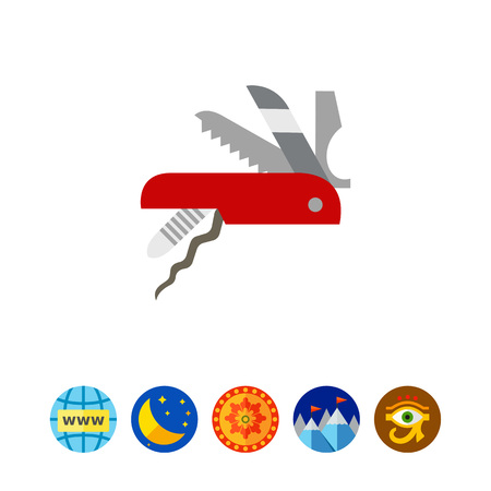 Vector icon of knife. Multifunction knife, pocket knife, souvenir. Switzerland concept. Can be used for topics like travel, tourism, hiking equipment Illustration