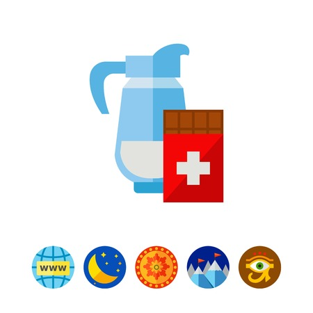 Vector icon of bar of Swiss chocolate and jug of milk. Milk chocolate, dessert, Swiss national product. Switzerland and food concept. Can be used for topics like dessert, food, confectionary