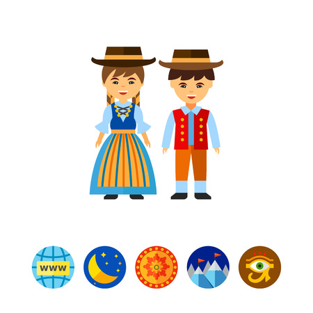 Vector icon of Swiss couple in national dress. Traditional clothing, Swiss people, Swiss culture. Switzerland concept. Can be used for topics like nation, tourism, geography Illustration