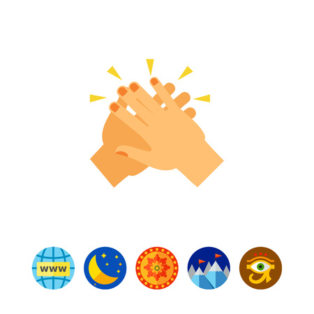 Vector icon of two hands giving five. Hi-five gesture, greeting, success. Symbolic hands concept. Can be used for topics like communication, symbols, friendship