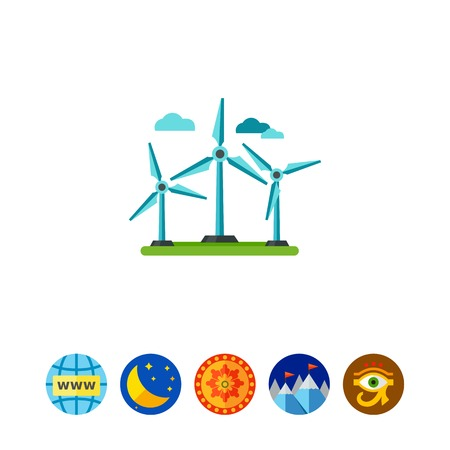 Icon of winds turbine. Windmill, power, infrastructure. Wind energy concept. Can be used for topics like ecology, industry, resource Illustration