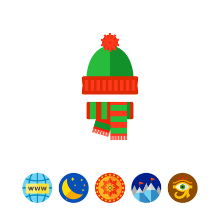 Vector icon of red and green knit hat and scarf. Warm clothing, handmade clothing, winter outfit. Casual clothes concept. Can be used for topics like fashion, style, accessories