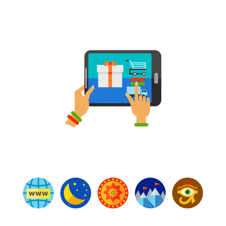 touch screen interface: Illustration of female hands using tablet to choose gift. Woman buying gift from e-shop, technology, online shopping. E-commerce concept. Can be used for topics like Internet, commerce, shopping Illustration