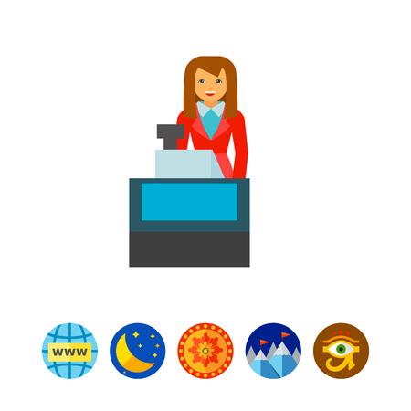 Icona della cassiera di donna. Negozio, acquisto, occupazione. Concetto di shopping. Può essere utilizzato per argomenti come il supermercato, il centro commerciale, il personale