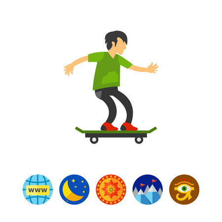 sports application: Icon of young skateboarder. Speed, longboard, teenager. Freestyle concept. Can be used for topics like sport, active lifestyle, energy Illustration