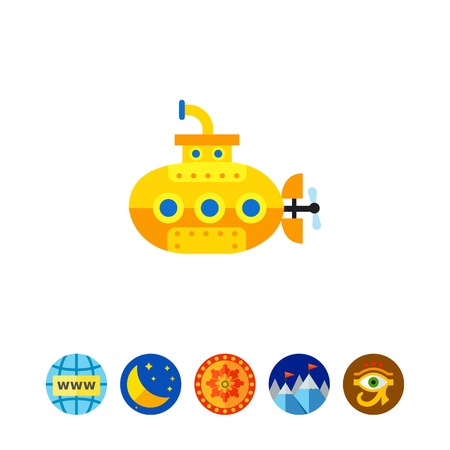 spying: Icon of yellow submarine. Vessel, discovery, traveling. Vacation concept. Can be used for topics like sea, boat, transportation Illustration