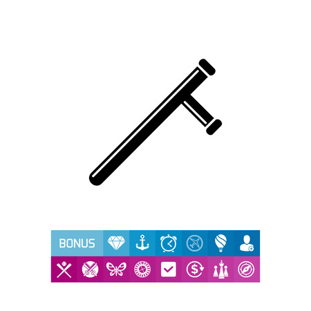 Monochrome vector icon of baton, police short stick with handle