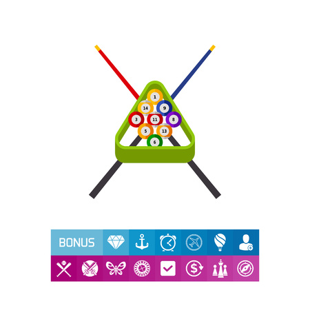 Billiard Balls in Rack and Cues Icon