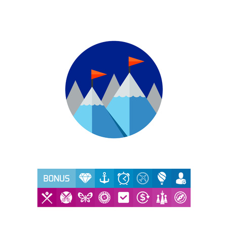 Achievement Concept Icon with Mountains