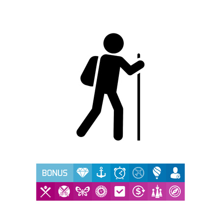 survive: Icon of man silhouette carrying backpack and walking with stick Illustration