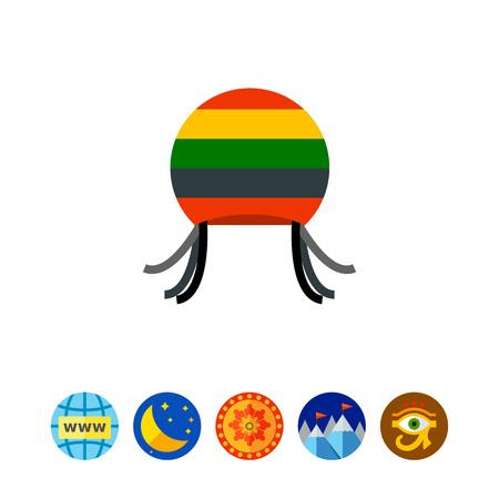 Rastafarian hat with dreadful locks icon Illustration