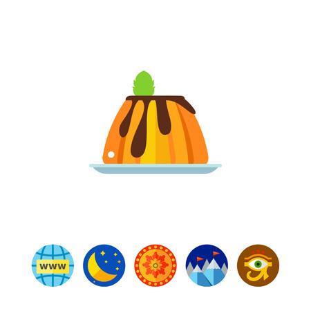Creamy caramel flan dessert with mint icon Illustration