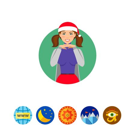 Young woman wearing Santa hat Illustration