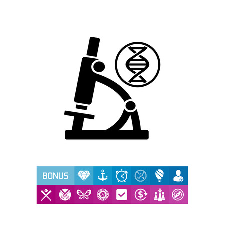 investigating: Monochrome vector icon of DNA molecule and microscope representing biology concept Illustration