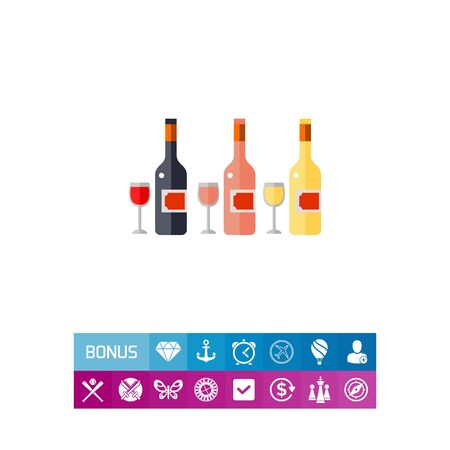 Bottles of Rose, White and Red Wine Icon
