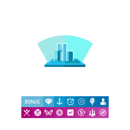 Buildings hologram flat icon Illustration