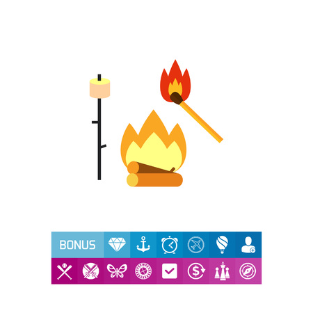burning: Campfire with Match and Marsh-mallow Icon