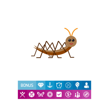 Multicolored vector icon of cartoon locust, side view