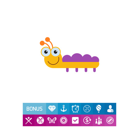 Vector icon of cute smiling cartoon caterpillar