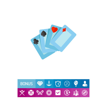 cartomancy: Four playing cards for casino. Club, luck, game. Casino concept. Can be used for topics like gambling, poker, nightlife. Illustration
