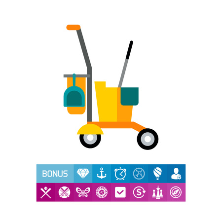 Cleaning service cart. Vector illustration.