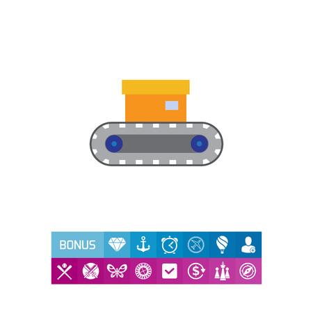 Vector-Symbol von Förderband mit Box auf sie Standard-Bild - 81730540