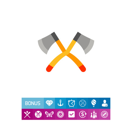 Illustration of big crossed axes. Lumberjack, wood, instrument. Camping concept. Can be used for topics like work, camping, tourism, scouting Illustration