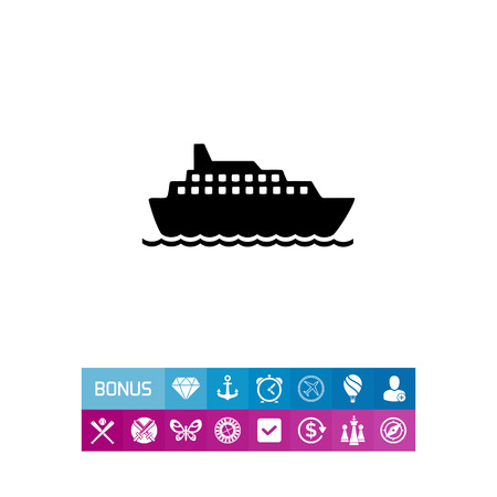 holiday spending: Big cruise liner floating on sea surface. Summer, sea, travelling. Ship concept. Can be used for topics like vacation, transport, tourism.